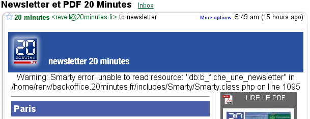 Warning: Smarty error: unable to read resource: db:b_fiche_une_newsletter in /home/renv/backoffice.20minutes.fr/includes/Smarty/Smarty.class.php on line 1095